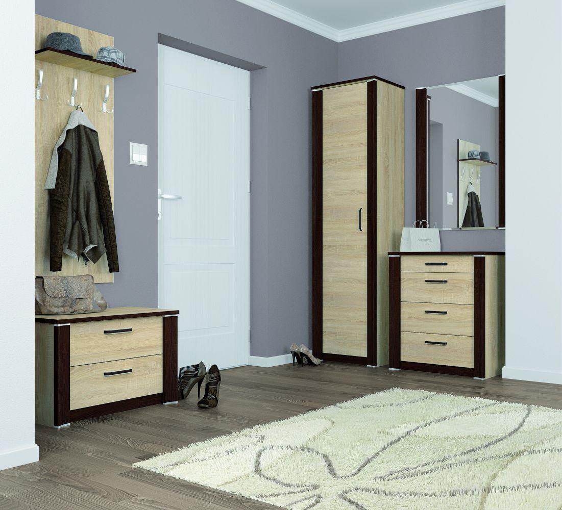 Garderoben Komplett Set A Terreon 5 Teilig Farbe Sonoma Eiche Hell Sonoma Eiche Dunkel