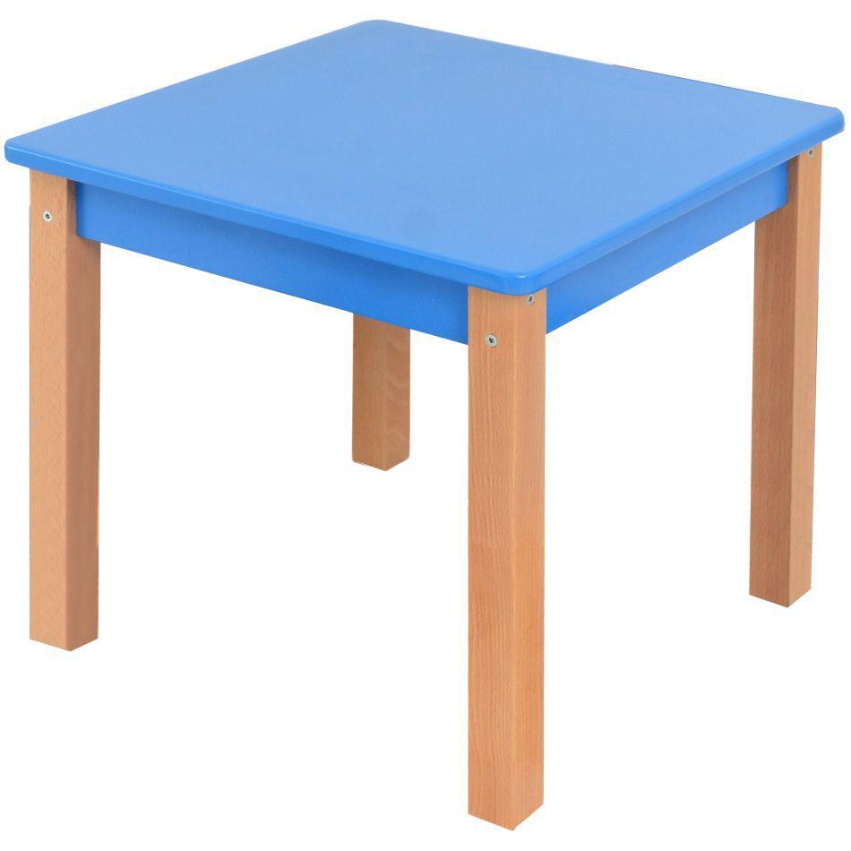 Kindertisch Laurenz Buche Vollholz massiv natur / blau - Abmessungen: 47 x 50 x 50 cm (H x B x T)