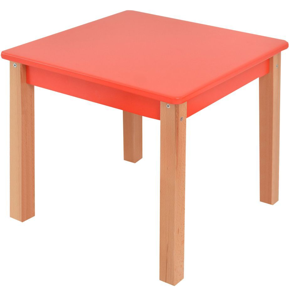 Kindertisch Laurenz Buche Vollholz massiv natur / rot - Abmessungen: 47 x 50 x 50 cm (H x B x T)