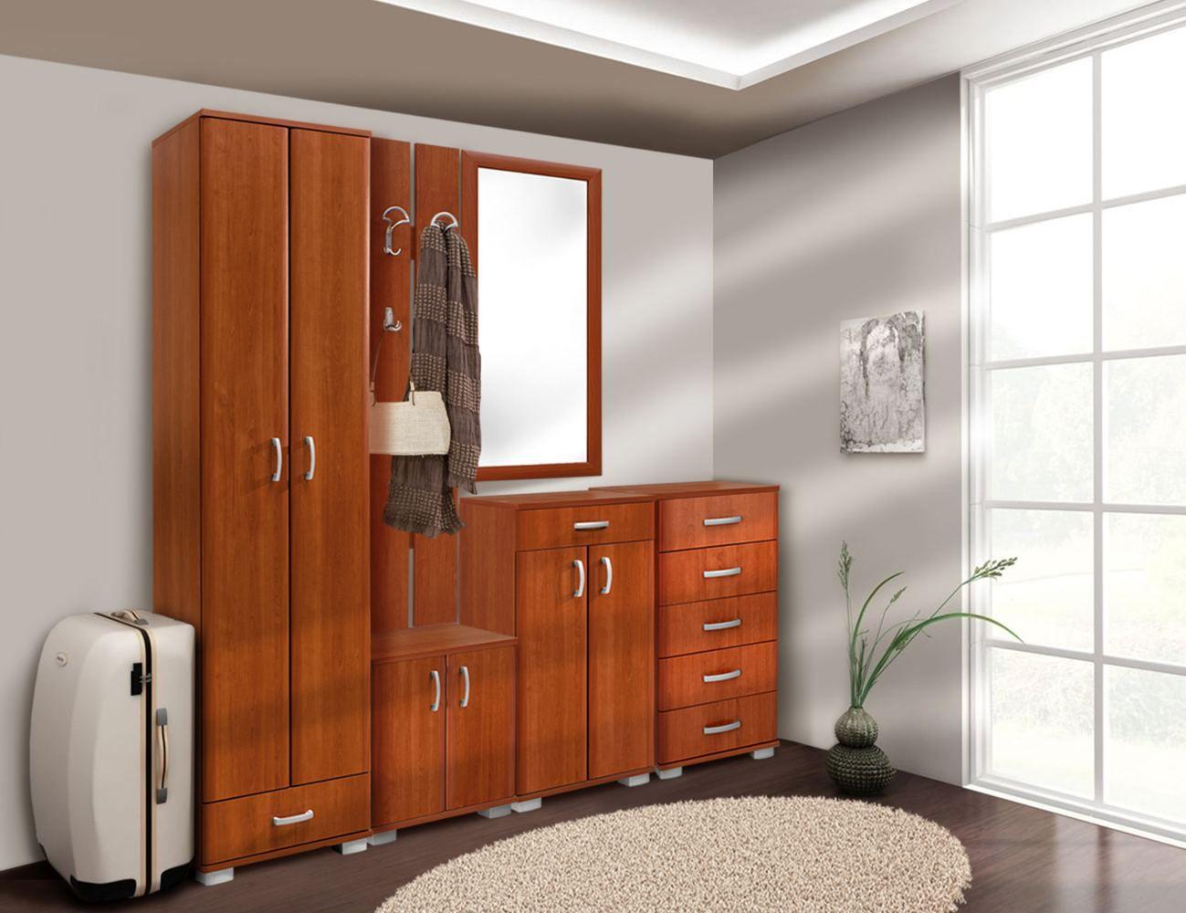 Garderobe Komplett - Set A Tudela, 5-teilig, Farbe: Kirsche