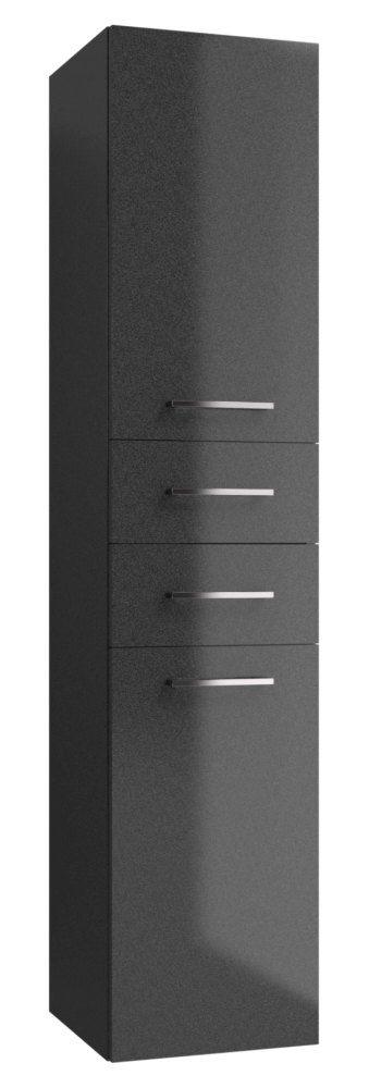 Badezimmer - Hochschrank Rajkot 76, Farbe: Anthrazit glänzend - 160 x 35 x 35 cm (H x B x T)