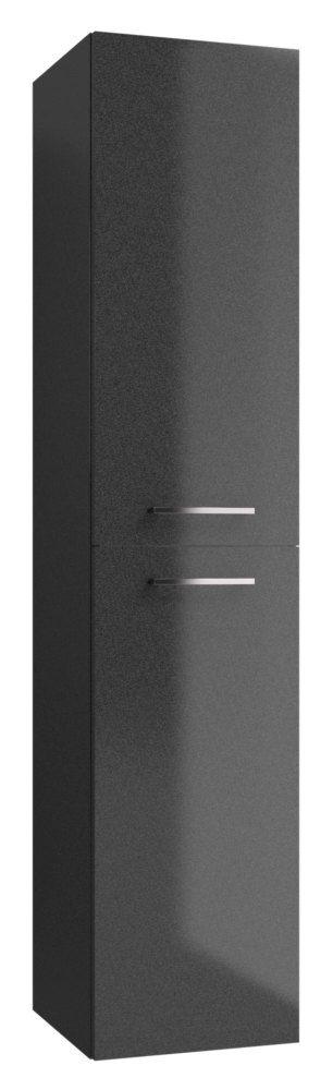 Badezimmer - Hochschrank Rajkot 84, Farbe: Anthrazit glänzend – 160 x 35 x 35 cm (H x B x T)