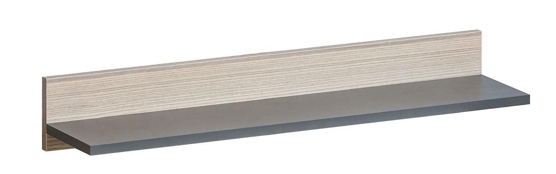 Jugendzimmer - Hängeregal Marcel 12, Farbe: Grau / Braun - Abmessungen: 12 x 80 x 18 cm (H x B x T)