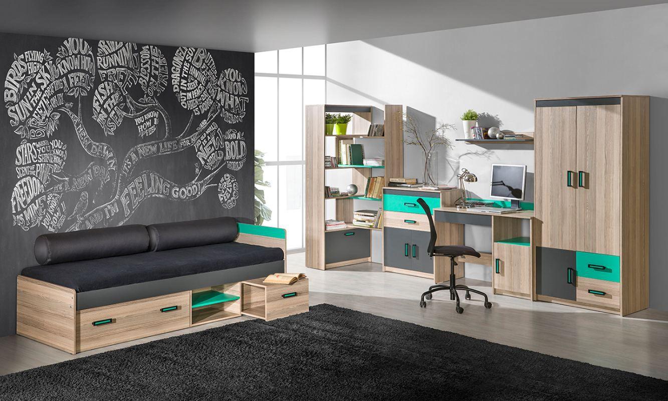 Jugendzimmer Komplett - Set A Marcel, 6-teilig, Farbe: Esche Türkis / Grau / Braun