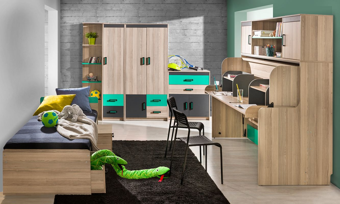 Jugendzimmer Komplett - Set H Marcel, 6-teilig, Farbe: Esche Türkis / Grau / Braun