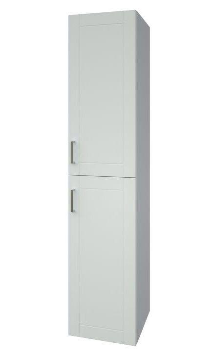 Badezimmer - Hochschrank Tumkur 07, Farbe: Weiß glänzend – 160 x 35 x 35 cm (H x B x T)