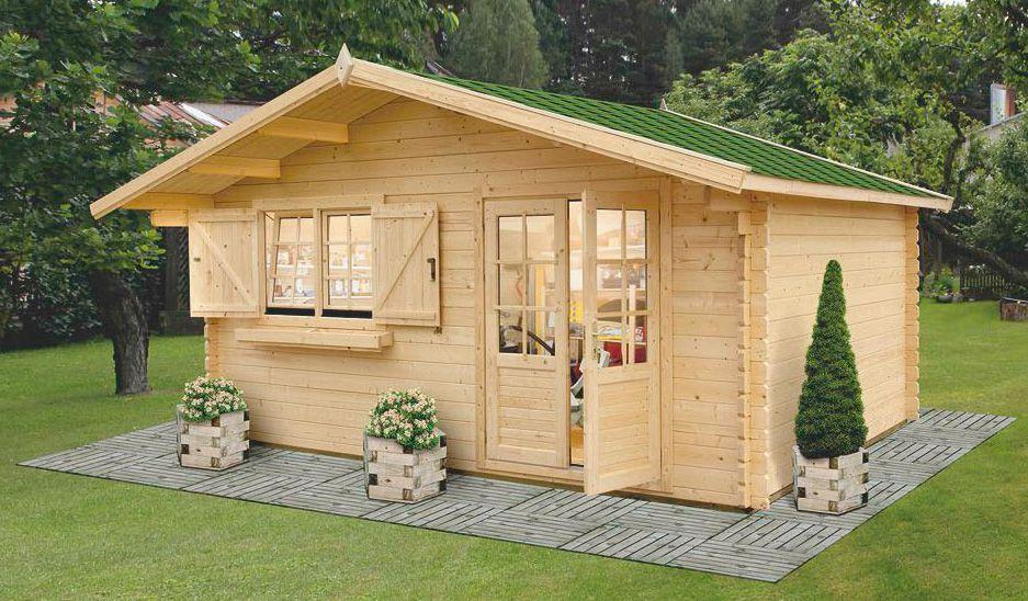 Gartenhaus LL16 - 34 mm Blockbohlenhaus, Grundfläche: 17,80 m², Satteldach
