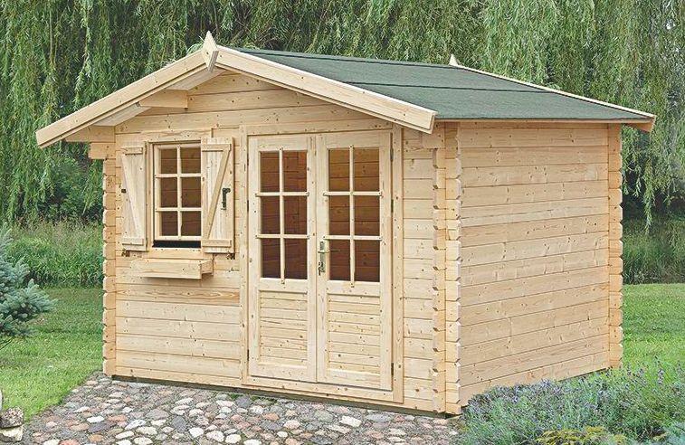 Gartenhaus PR9 - 34 mm Blockbohlenhaus, Grundfläche: 10,40 m², Satteldach