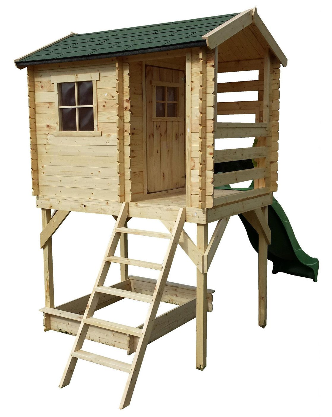 Spielhaus Hannah inkl. Rutsche - 1,75 x 1,30 Meter aus 19mm Blockbohlen
