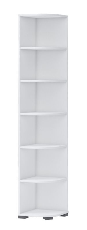 Kinderzimmer - Eckregal Benjamin 30, Farbe: Weiß - Abmessungen: 198 x 37 x 37 cm (H x B x T)