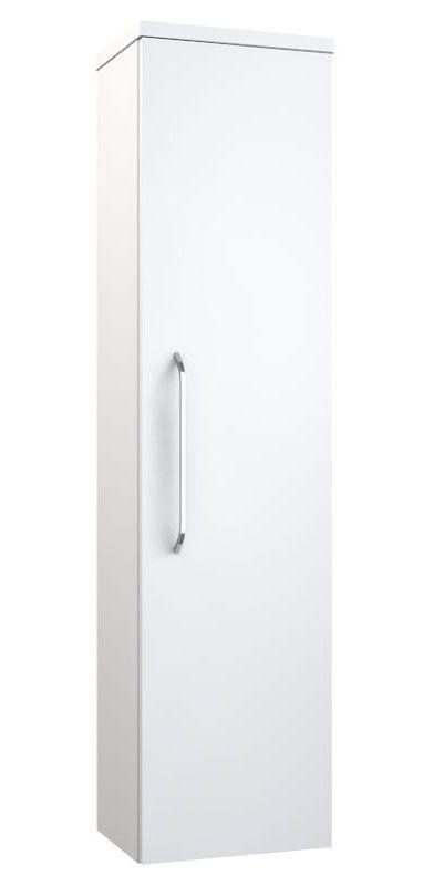 Badezimmer - Hochschrank Barasat 81, Farbe: Weiß glänzend – 140 x 36 x 25 cm (H x B x T)
