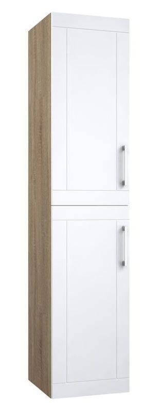 Bad - Hochschrank Bengaluru 39, Farbe: Weiß matt / Eiche – 160 x 35 x 35 cm (H x B x T)