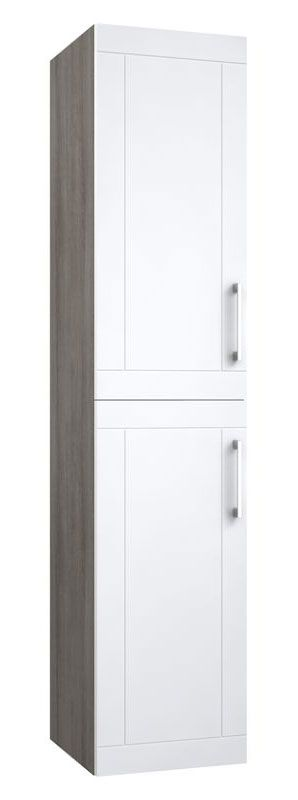 Bad - Hochschrank Bengaluru 40, Farbe: Weiß matt / Esche Grau – 160 x 35 x 35 cm (H x B x T)
