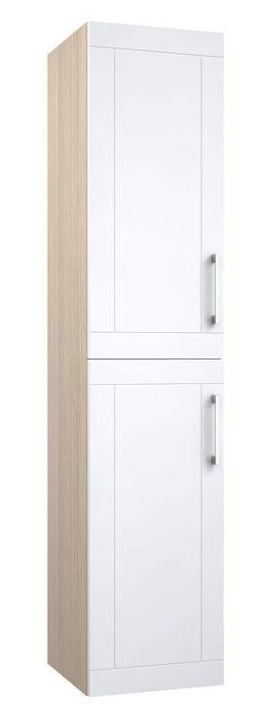 Bad - Hochschrank Bengaluru 38, Farbe: Weiß matt / Esche hell – 160 x 35 x 35 cm (H x B x T)