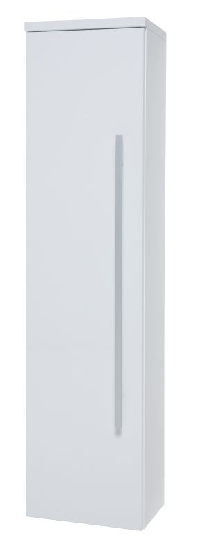 Bad - Hochschrank Bidar 81, Farbe: Weiß glänzend – 140 x 36 x 25 cm (H x B x T)