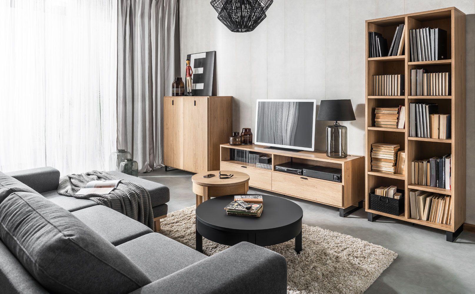 """Wohnzimmer Komplett - Set """"Patitas"""", 5-teilig, Farbe: Eiche"""