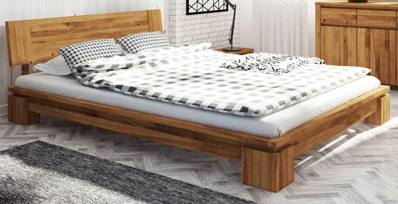 Doppelbett Tasman 04 Wildeiche massiv geölt - Liegefläche: 180 x 200 cm (B x L)