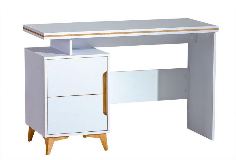 Schreibtisch Amanto 12, Farbe: Weiß / Esche - Abmessungen: 79 x 120 x 52 cm (H x B x T)