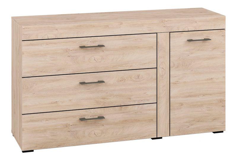 Kommode Decorah 06, Farbe: Eiche hell - Abmessungen: 84 x 146 x 42 cm (H x B x T), mit 1 Tür, 3 Schubladen und 2 Fächern
