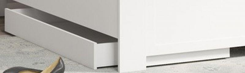 Schublade für Bett Dodoni, Farbe: Weiß - Abmessungen: 14 x 67 x 130 cm (H x B x L)