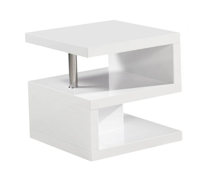Couchtisch Dakoro 99, Farbe: Weiß Hochglanz - Abmessungen: 50 x 50 x 50 cm (H x B x T)