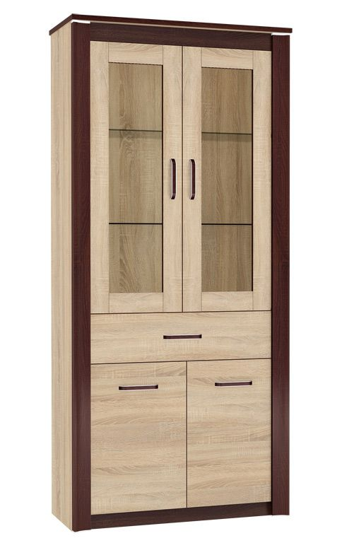 Vitrine Nogales 07, Farbe: Sonoma Eiche hell / dunkel - Abmessungen: 202 x 92 x 41 cm (H x B x T), mit 4 Türen, 1 Schublade und 5 Fächern