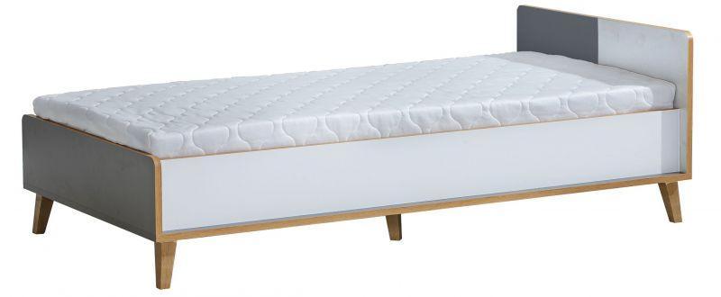 Einzelbett / Gästebett Caranx 10, Farbe: Weiß / Eiche / Anthrazit, teilmassiv - 90 x 195 cm (B x L)