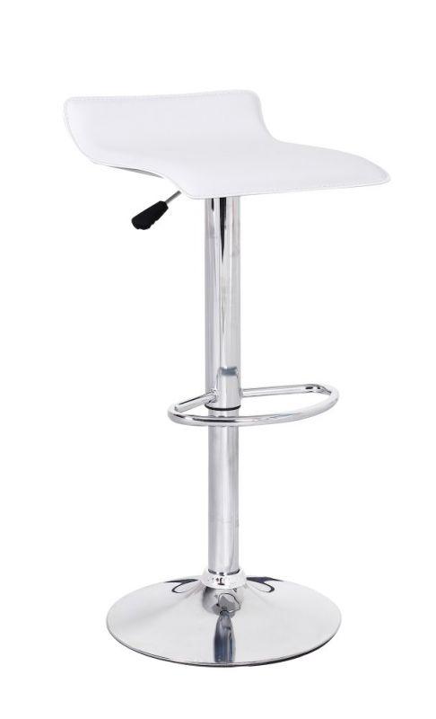 Barhocker Okola 77, Farbe: Weiß - Abmessungen: 65 - 85 x 39 x 40 cm (H x B x T)