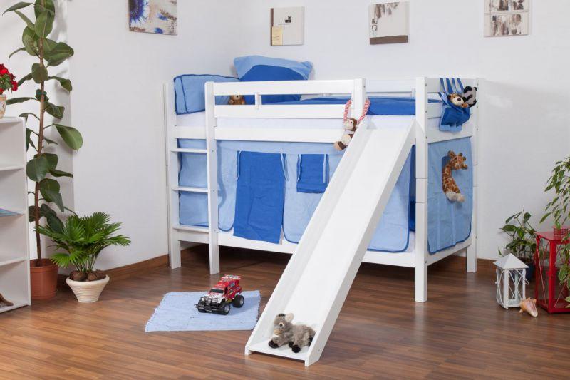Kinderbett Etagenbett Jonas Buche Vollholz massiv weiß lackiert mit Rutsche in Weiß inkl. Rollrost - 90 x 200 cm, teilbar, Aktionsversion