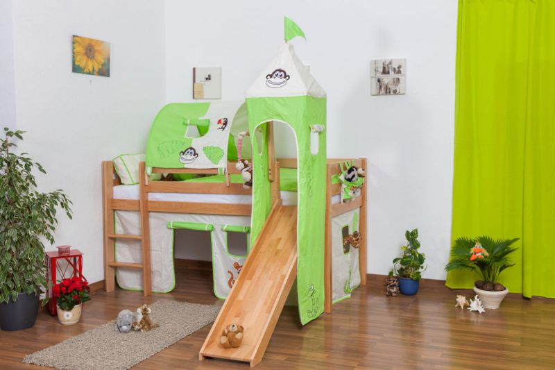 Kinderbett Hochbett Andi Buche Vollholz massiv natur mit Rutsche und Turm inkl. Rollrost - 90 x 200 cm
