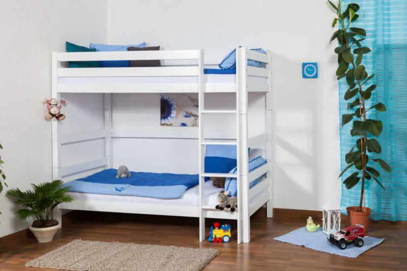 Kinderbett Etagenbett Thomas Buche Vollholz massiv weiß lackiert , inkl. Rollrost - 90 x 200 cm, teilbar