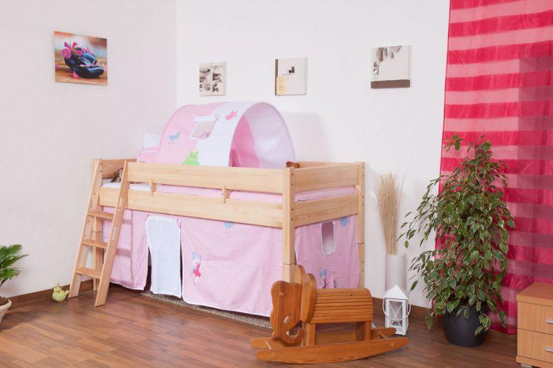 Kinder Hochbett Buche Massivholz 90x200 cm - inkl. Rollrost