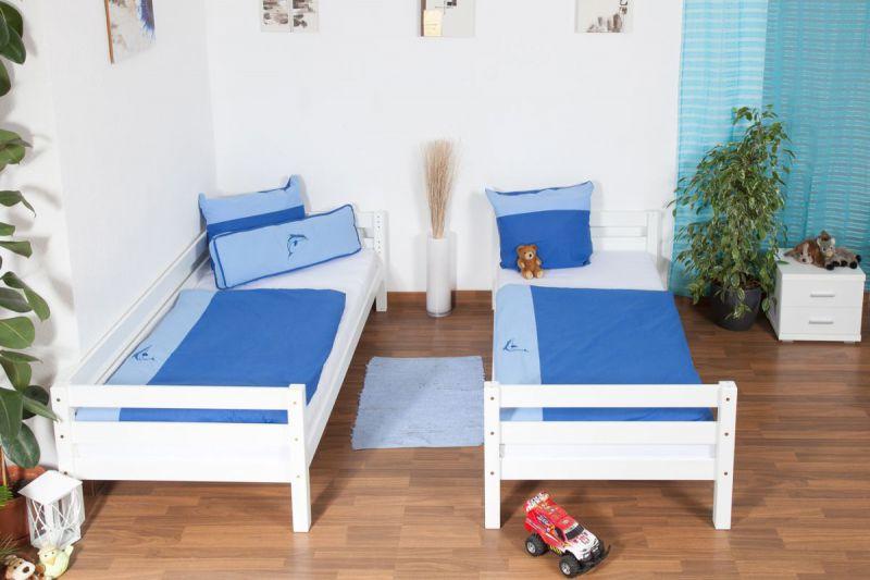 weißes Kinder Etagenbett - Buche massiv 90x200 cm, teilbar auf 2 Betten