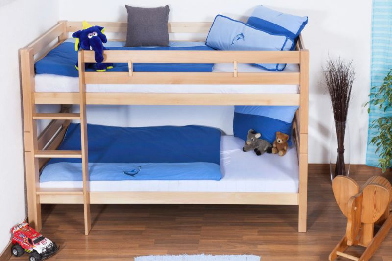 Kinder Etagenbett - Buche Massivholz 90x200 cm, teilbar