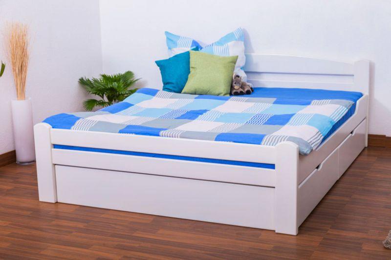 """Doppelbett / Funktionsbett """"Easy Premium Line"""" K4 inkl. 2 Schubladen und 1 Abdeckblende, 160 x 200 cm Buche Vollholz massiv weiß lackiert"""