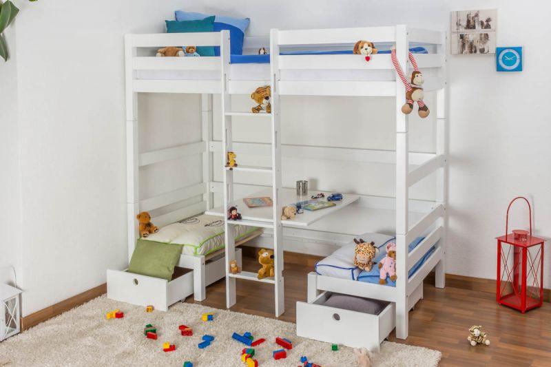 Kinderbett / Etagenbett / Funktionsbett Tim (umbaubar zu einem Tisch mit Bänken oder zu 2 Einzelbetten) Buche massiv weiß lackiert, inkl. Rollrost - 90 x 200 cm
