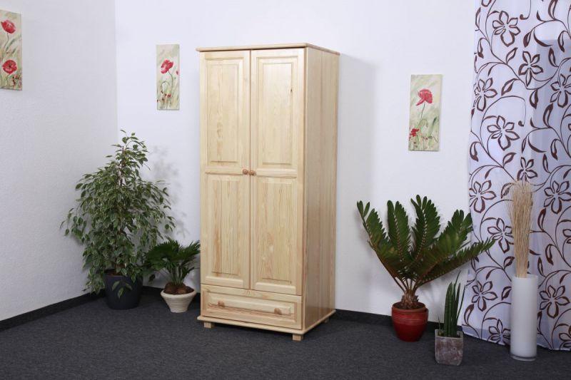 Kleiderschrank Kiefer Vollholz massiv natur 006 - Abmessung 190 x 80 x 60 cm (H x B x T)