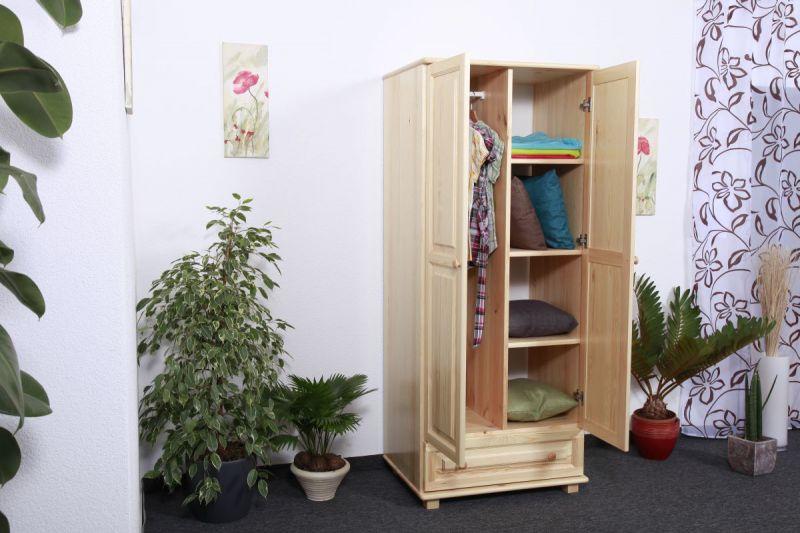 Kleiderschrank Massivholz natur 006- Abmessung 190 x 90 x 60 cm (H x B x T)