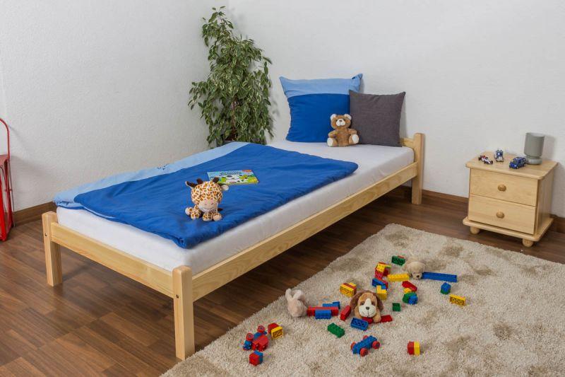 Kinderbett / Jugendbett Kiefer massiv Vollholz natur , inkl. Lattenrost - Maße: 90 x 200 cm