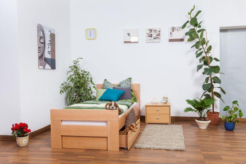 """Einzelbett / Gästebett """"Easy Premium Line"""" K2 inkl. 2 Schubladen und 2 Abdeckblenden, 90 x 200 cm Buche Vollholz massiv Natur"""