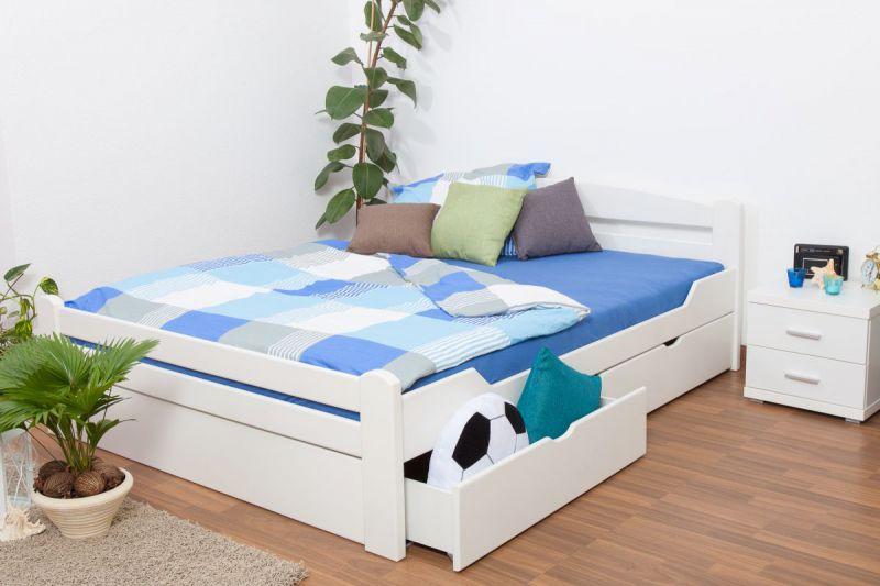 """Doppelbett / Funktionsbett """"Easy Premium Line"""" K4 inkl. 2 Schubladen und 1 Abdeckblende, 180 x 200 cm Buche Vollholz massiv weiß lackiert"""