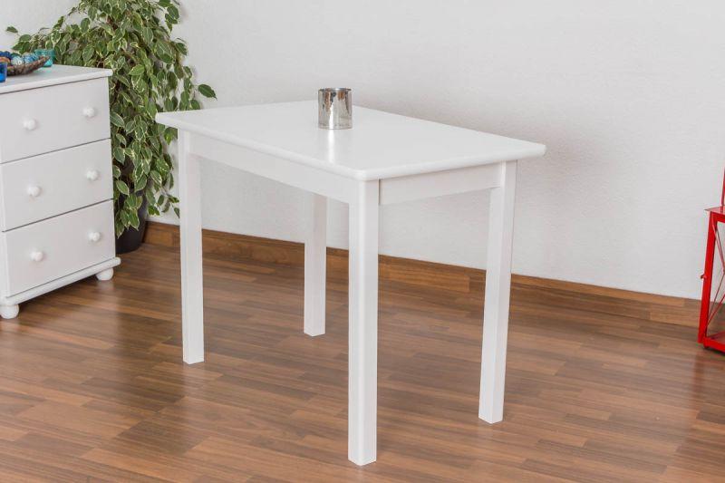 Tisch Kiefer massiv Vollholz weiß lackiert Junco 227B (eckig) - Abmessung 60 x 100 cm