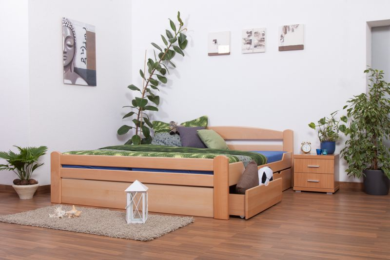 """Doppelbett / Funktionsbett """"Easy Premium Line"""" K4 inkl. 2 Schubladen und 1 Abdeckblende, 180 x 200 cm Buche Vollholz massiv Natur"""