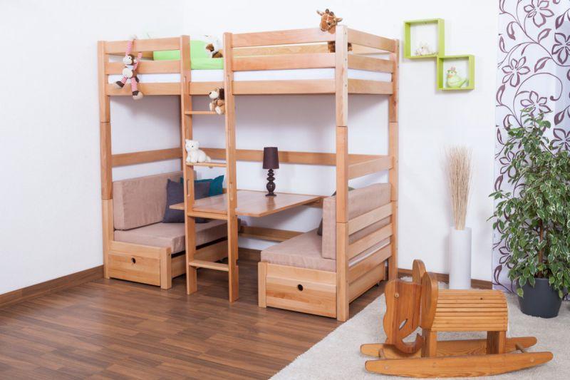 Kinderbett / Etagenbett / Funktionsbett Tim (umbaubar zu einem Tisch mit Bänken oder zu 2 Einzelbetten) Buche massiv natur inkl. Rollrost - 90 x 200 cm