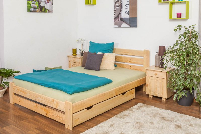 Kinderbett / Jugendbett Kiefer Vollholz massiv natur A24, inkl. Lattenrost - Abmessung 140 x 200 cm