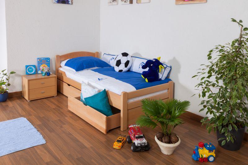 """Kinderbett / Jugendbett """"Easy Premium Line"""" K1/2n inkl. 2 Schubladen und 2 Abdeckblenden, 90 x 200 cm Buche Vollholz massiv Natur"""