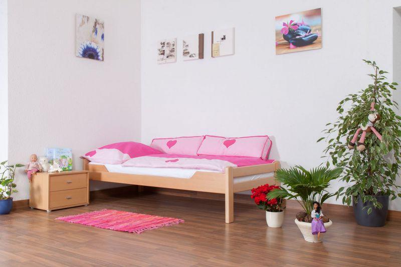 "Kinderbett / Jugendbett ""Easy Premium Line"" K1/1n, Buche Vollholz massiv Natur - Maße: 90 x 200 cm"