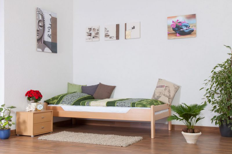 """Einzelbett """"Easy Premium Line"""" K1/1n, Buche Vollholz massiv Natur - Maße: 90 x 200 cm"""