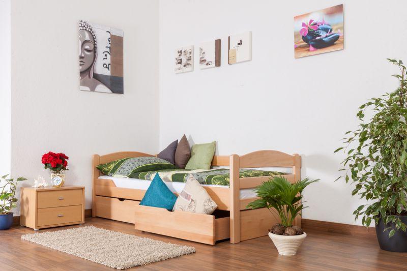 """Einzelbett / Funktionsbett """"Easy Premium Line"""" K1/n/s inkl 2 Schubladen und 2 Abdeckblenden, 90 x 200 cm Buche Vollholz massiv Natur"""