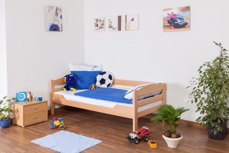 "Jugendbett / Kinderbett ""Easy Premium Line"" K1/n/s, Buche Vollholz massiv Natur - Maße: 90 x 190 cm"